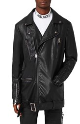 Topman Men's Aaa Collection Longline Faux Leather Biker Jacket
