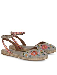 Tabitha Simmons Natural Embroidered Dotty Festival Espadrilles Beige