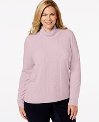Karen Scott Plus Size Turtleneck Cable Knit Sweater Only At Macy's Pink Ice