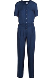 Iris And Ink Justine Crepe Jumpsuit Storm Blue