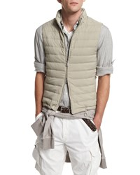 Brunello Cucinelli Padded Nylon Zip Up Vest Medium Gray Men's Size 50 M Oyster Med Grey Tan Oyster Med Grey
