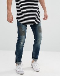 Tom Tailor Jeans In Slim Fit With Patchwork 1075 Dark Stone Blue