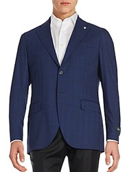 Lubiam Wool Windowpane Blazer High Blue