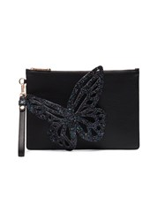 Sophia Webster Flossy Glitter Butterfly Clutch Leather Sequin Black