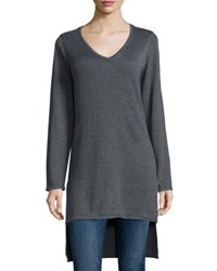 Neiman Marcus V Neck High Low Tunic Charcoal G