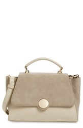 Sole Society Kenyon Faux Leather Satchel White Cream Combo