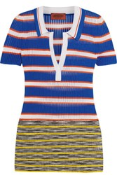 Missoni Striped Crochet Knit Polo Shirt Blue