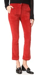 3X1 W3 Patch Bell Crop Pants Red Henna