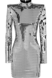 Balmain Embellished Crepe Mini Dress Silver