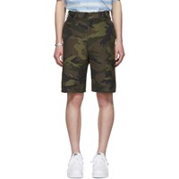 Junya Watanabe Khaki And Brown Jacquard Camo Shorts
