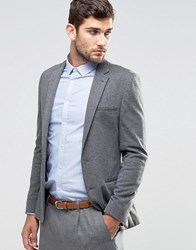 Asos Super Skinny Jersey Blazer In Charcoal Charcoal Grey