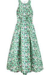 Monique Lhuillier Floral Print Satin Gown Green