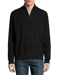 Neiman Marcus Zip Front Cashmere Pullover Sweater Black
