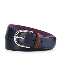 Neiman Marcus Two Tone Leather Belt Blue Tan
