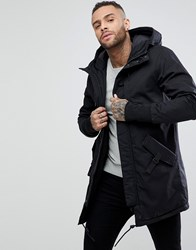 Pull And Bear Pullandbear Quilted Parka With Hood In Black Black
