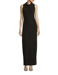 Aidan Aidan Mattox Sleeveless Cowlneck Column Gown Black Gold