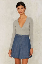 Handle With Flare Denim Skirt Blue