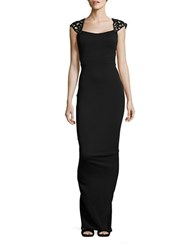 Nicole Bakti Embellished Column Gown Black
