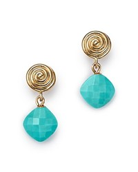 Bloomingdale's Turquoise Swirl Drop Earrings In 14K Yellow Gold 100 Exclusive Blue Gold