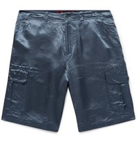 Sies Marjan Elias Washed Satin Cargo Shorts Storm Blue