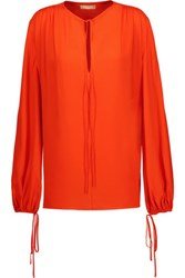 Michael Kors Collection Pleated Silk Blouse Tomato Red