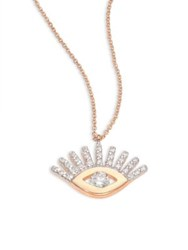 Kismet By Milka Evil Eye Diamond And 14K Yellow Gold Pendant Necklace White Gold