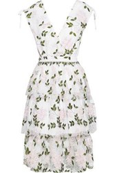 W118 By Walter Baker Woman Wrap Effect Tiered Embroidered Tulle Dress White