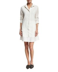 Brunello Cucinelli Organza Silk And Poplin Shirtdress White