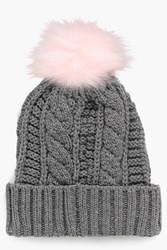 Boohoo Cable Knit Faux Fur Pom Beanie Hat Grey