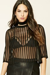 Forever 21 Striped Mesh Paneled Top