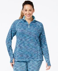Ideology Plus Size Quarter Zip Space Dyed Sport Jacket Only At Macy's Teal Multi