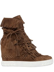 Casadei 100Mm Fringed Suede Wedge Ankle Boots