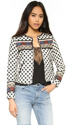 Twelfth St. By Cynthia Vincent Embellished Jacket Ivory Black