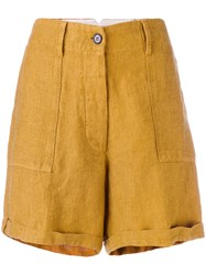 Forte Forte High Rise Tailored Shorts Women Cotton Linen Flax I Yellow Orange