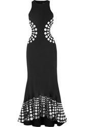 David Koma Embellished Cutout Cady Gown Black