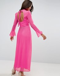 Asos High Neck Pleated Maxi Dress With Open Back Pink