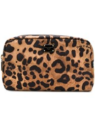 Dolce And Gabbana Leopard Print Make Up Pouch Brown