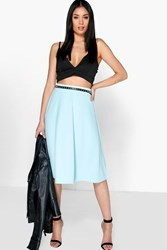 Boohoo Plain Full Circle Skater Skirt Blue