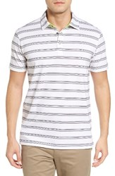 Bobby Jones Men's Shadow Stripe Stripe Pique Golf Polo White