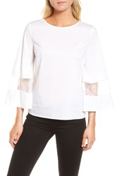 Chelsea 28 Chelsea28 Lace And Poplin Blouse White