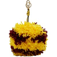 Loewe Yellow And Burgundy Big Pom Pom Keychain