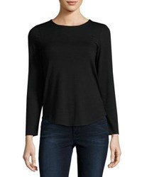 Neiman Marcus Basic Crewneck Long Sleeve Tee Black