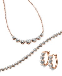 Macy's Captured Heart Jewelry Collection In Sterling Silver And Rose Gold Plated Sterling Silver