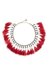 Serefina Fluid Feather Collar Necklace Red