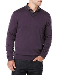 Perry Ellis Knit V Neck Sweater Purple