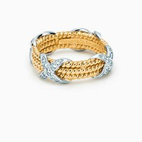 Tiffany And Co. Schlumberger Rope Six Row X Ring With Diamonds. Gold