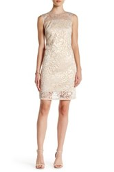 Carmen Marc Valvo Infusion Sheer Floral Jacquard Shift Dress Metallic