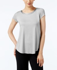 Alfani High Low T Shirt Created For Macy's Ash Grey