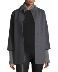 Cinzia Rocca Hidden Placket Wool Coat Gray