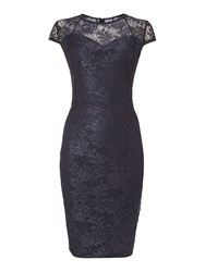 Therapy Metallic Lace Bodycon Dress Grey